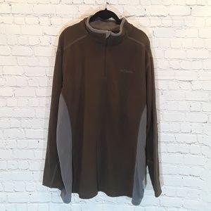 Men's Columbia 1/4 zip green and grey pullover XXL